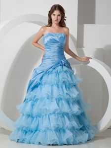 Layers Ruffles for Handle Flowers Evening Dress Patterns in Baby Blue