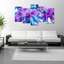 5 Peça Da Arte Da Parede Flores da Orquídea Da Lona Contemporary Home Decor Decorações de Arte Giclée HD Poster Modern Pintura de Paisagem(China)
