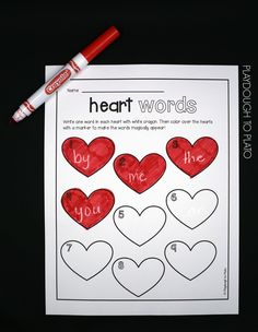 FREE sight word activity for kids! Write the words in white crayon and then color the hearts with marker to make them magically appear. So simple and fun! This is a fun and festive way to practice sight words and celebrate Valentine's Day. Sight Word Practice, Sight Word Games, Sight Word Activities, Sight Words, Spelling Practice, Valentines Day Activities, Holiday Activities, Activities For Kids, Holiday Themes