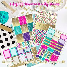 New!! Colorful Celebration Planner Stickers | 4 Page Weekly Kit | ECLP, MAMBI, Kikki K, Kate Spade, Filofax, Websters, Color Crush