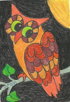 Original ACEO witch owl moon Halloween painting folk art by Jody
