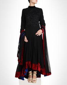Black anarkali with red velvet detailing. Shop Now: www.kimaya.in