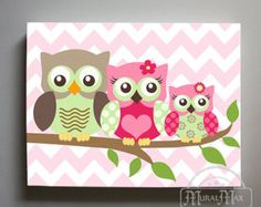 Owl Decor Girls wall art OWL canvas art Baby Nursery door MuralMAX