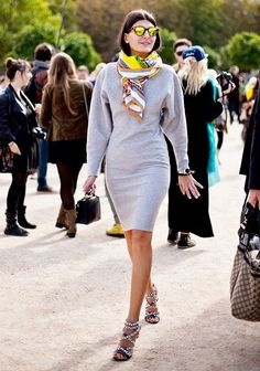 Shop the 25 Best Street Style Shoe Moments of the Month via @WhoWhatWear--- love the grey dress with the bright silk scarf