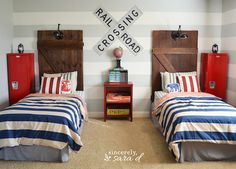 Love this boy bedroom - especially the barn door headboards!  www.sincerelysarad.com