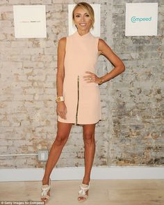 Television personality: Giuliana Rancic wore a little peach dress on Wednesday at a pedicure event in New York City