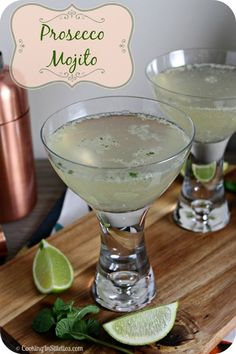 Prosecco Mojito - Classic flavors of mint and lime, melded with sugar, rum and a bit of sparkle. Not sure about mint with procecco but worth a try