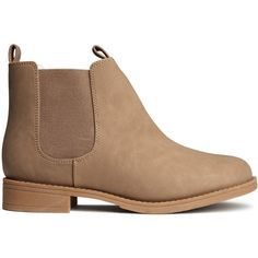 H&M Chelsea boots ($36) ❤ liked on Polyvore featuring shoes, boots, ankle booties, botas, zapatos, light brown, light brown boots, h&m, chelsea bootie and rubber sole boots