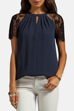 Stylish Round Collar Short Sleeve Spliced Cut Out Blouse For Women