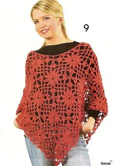 crochet poncho with flowers ...