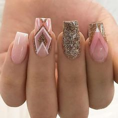 18 Trending Nail Designs That You Will Love - Best Nail Art Pink Gold Silver Glitter Geometric Manicure - French tip - Square shaped long nails - cute summer fall spring fingernails - gel nails - shellac - Square Nail Designs, Best Nail Art Designs, Nail Designs With Gold, Awesome Nail Designs, Aztec Nail Designs, Aztec Nail Art, Aztec Nails, Gorgeous Nails, Gold Nails