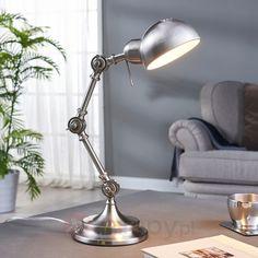 Klasyczna lampa biurkowa Ellisen, nikiel 9620984 Desk Lamp, Table Lamp, Lighting, Home Decor, Cozy, Industrial Style, Floor Lamps, Light Fixture, Table Lamps