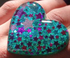 Teal Pink and Purple Stars Resin Heart Ring Big by GlitterFusion