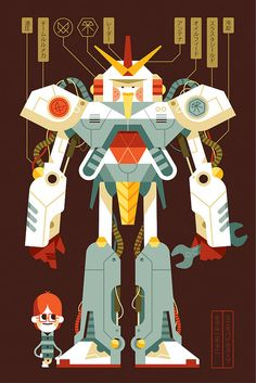 Mini Mobile Suit - by Lou Lou (at Tilburg duo Loulou & Tummie) Character Concept, Character Art, Concept Art, Robot Illustration, Character Illustration, Vector Robot, Vector Art, Science Fiction, Robot Art