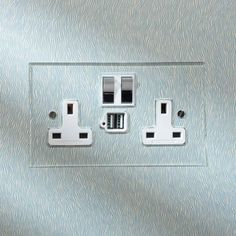 Invisible Double 13amp Socket with USB Chargers and Nickel Silver Switches