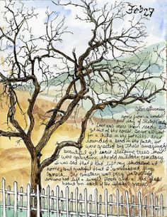 Winter tree art journal love by sasha lovely combination or watercolor and writing!