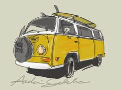Loser Surfer: Surf Art - ANDONI GALDEANO Volkswagen Transporter, Volkswagen Bus, Bus Art, Car Drawings, Surf Style, Kids Prints, Mellow Yellow, Illustration, Surfing