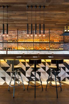 Contemporary design with modern bar stools shape See more:https://www.brabbu.com/en/inspiration-and-ideas/category/world-travel/restaurant-bar