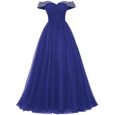 Bridesmay Long Tulle Prom Dress Beaded Off Shoulder Evening Gown... ($55) ❤ liked on Polyvore featuring dresses, off the shoulder long dress, blue formal dresses, long dresses, formal dresses and beaded prom dresses