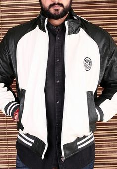 White & Black Biker Jacket @1999 only. #Best deals at www.thegstreet.com #visit now. Call or whatsapp 09643005488.