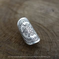 BOHO-Gypsy ring-Hippie ring-Bohemian ring-Statement ring R095-JewelryBOHO-Handmade sterling silver BOHO Tribal printed ring
