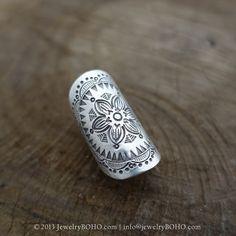 BOHO-Gypsy ring-Hippie ring-Bohemian ring-Statement ring R095-JewelryBOHO-Handmade sterling silver BOHO Tribal printed ring