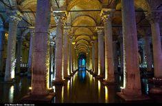 Istanbul,famous view of the famous basilica cistern beneath Hagia Sophia Museum