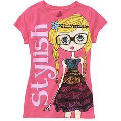 Girls' Stylish Girl Graphic Tee  size 7/8