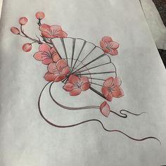 fan and Sakura blossoms #cherryblossom#flowertattoo#fan#geish#geishatattoo#geishafan#cherryblossomtattoo#art#drawings#sketch#tattoos#inkfiendart#flowerstagram#prisma#tattooidea#626#floral#floradesign