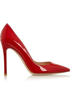 Heel measures approximately 100mm/ 4 inches Red patent-leather Slip on Designer color: Red Tabasco  Small to size. See Size & Fit tab.