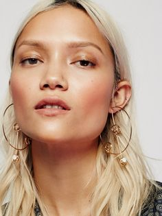 Solar System 3D Hoops | Celestial-inspired large hoop metal earrings featuring sparkly glass stones. Post backs.