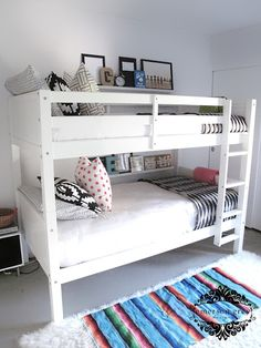 White bunk beds --these are from walmart! Emerson Grey Designs : Nursery Interior Designer: My kids shared room reveal {black and white kids room}