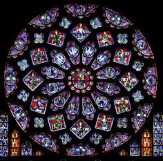 Chartres Cathedral stained glass rose window (High Gothic) color symbolism: green - spring time and rebirth, red - the blood of Jesus, blue - the virgin Mary, white - purity, yellow and gold - divine light of heaven Stained Glass Rose, Stained Glass Windows, L'art Du Vitrail, Wine Bottle Wall, Gothic Cathedral, Milan Cathedral, Cathedral Church, Rose Window, Church Windows