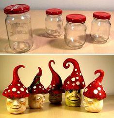 So I made some funny garden gnomes that reuse old glasses . - So I made some funny garden gnomes that reuse old glasses … – Baby Diy # old - Funny Garden Gnomes, Gnome Garden, Diy Garden, Garden Kids, Garden Tools, Mason Jar Crafts, Bottle Crafts, Mason Jars, Apothecary Jars