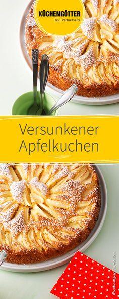 Rezept für versunkenen Apfelkuchen, kann je nach Saison mit verschiedenen Obstsorten belegt werden.