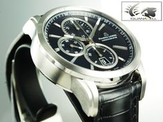 Maurice Lacroix Pontos Automatic Watch, Sst. ETA 7750, Cronograph, Bla | Iguana Sell Automatic Watch, Stainless Steel Case, Wooden Boxes, Crocodile, Omega Watch, Chronograph, Jewels, Watches, Crystals
