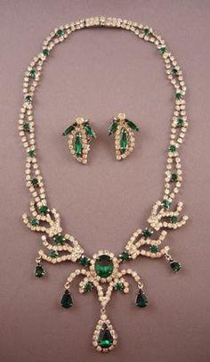 Kramer Faux Emerald Rhinestone Necklace and Earring Set Value