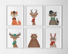 Woodland animaux ensemble imprimable Art pépinière Art tirages