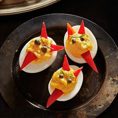 The perfect appetizer for a Halloween party. Doubly Deviled Eggs