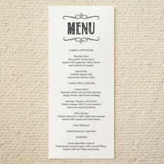 Wedding menu templates FREE loveHappily EVERafter