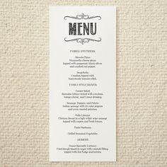 Printable Wedding Menu Card Template DIY Social Event Corporate