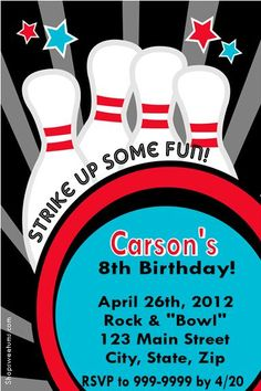 Bowling Party Invitations And Favors Birthday