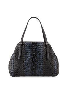 Medium Intrecciato Snakeskin Tote Bag, Black/Navy by Bottega Veneta at Neiman Marcus.