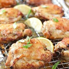 Crispy Oven Fried Chicken with Garlic, Lemon and Scallions