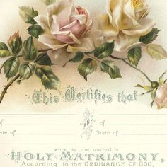 Victorian Marriage Certificate Roses Digital Image Of A