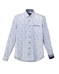 Chemise casual en coton bleu à rayures et motif floral