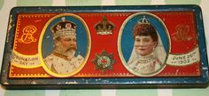 Very pretty Rowntree's 1902 Edward VII Coronation tin by Tinternet Tin Cans, Oval Frame, Vintage Tins, Red Background, My Images, Roman, Russia, Boxes, Miniatures