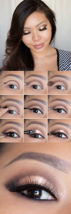 Makeup Tips For Asian Women - Soft Rose Gold Smokey Eye Tutorial- Simple Step By Step Tutorial and Guides for Everyday Beauty Looks - Natural Monolid Guides with Before And After Looks - Best Products for Contouring and Hooded Eye Looks, Looks for Prom or the Wedding and Tips for Cute and Dramatic Korean Styles - thegoddess.com/makeup-tips-asian-women
