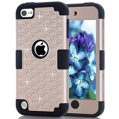 Amazon.com: iPod touch 5 Case, iPod touch 6 Case, HOcase Rhinestone-Studded Bling Series, Dual Layer of Hard PC and Soft Silicone Protective Case for iPod touch 5th & 6th Gen - Champagne Gold+Black: Cell Phones & Accessories