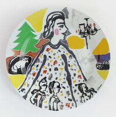 Porcelain plate Сhildren's party #etsy #etsyshop #handmade #porcelain #christmastree #colors #plate #interior #decoration